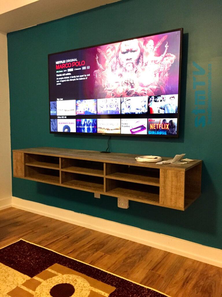 Meuble tv suspendu au murBesta meuble ikea fixer au murcables dissimulétv au mur sur support muraleGrand Montreal