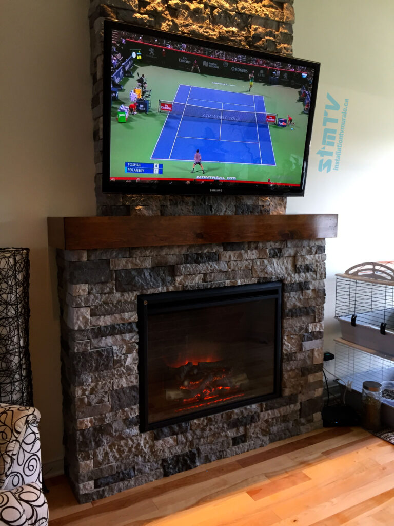 installation tv au dessus foyer