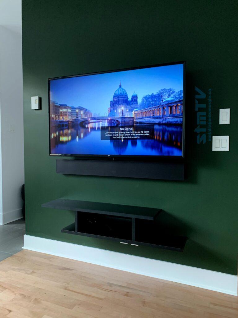 meuble murale tv au mur
