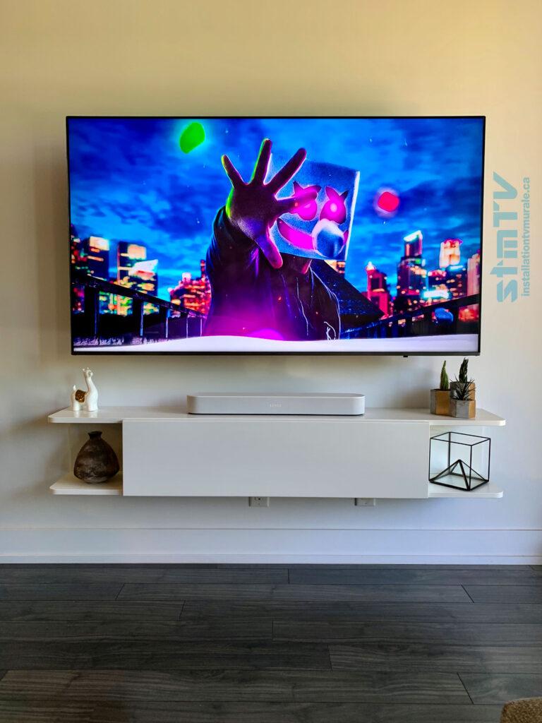 magnifique installation meuble ikea et barre de son sonos avec tv au mur sur support murale